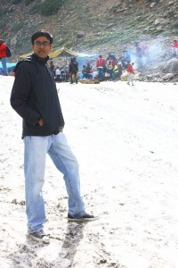 Posing on the snow