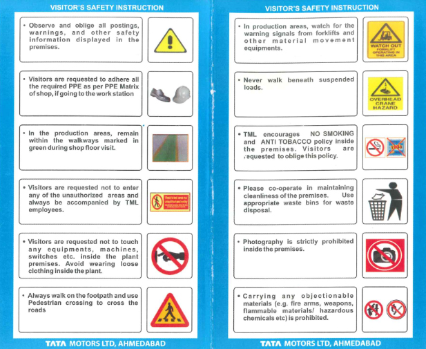 Safety instruction for the plant